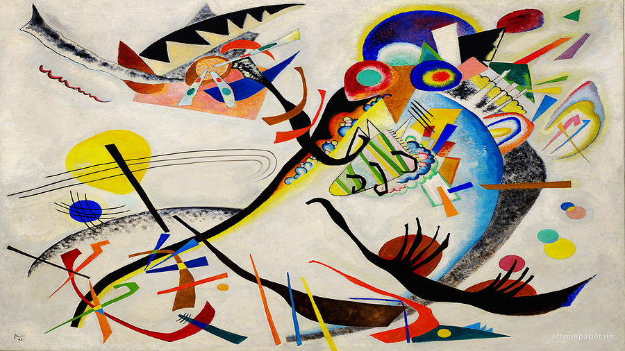 Kandinsky Painting With White Lines