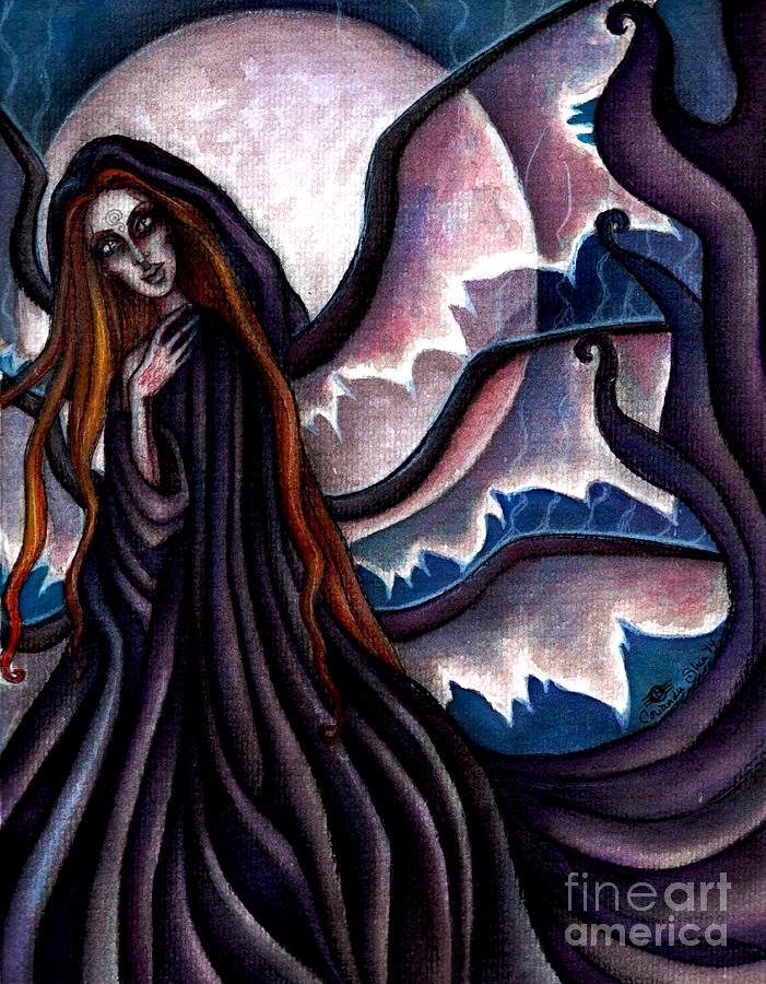 Black Painting - The Black Belladonna by Coriander  Shea