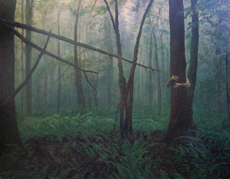 Realism Painting - The Blue-green Forest by Derek Van Derven