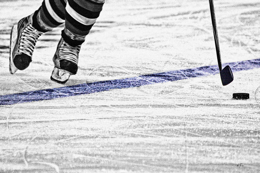 Ice Hockey Photograph - The Blue Line by Karol Livote