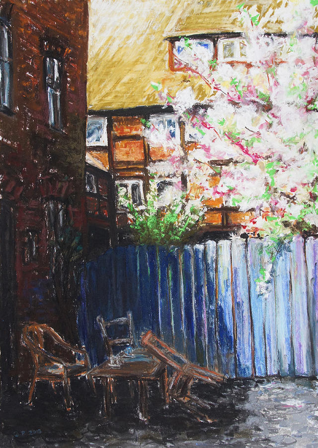 Barbara Pommerenke Drawing - The Blue Paling - Backyard Of The Arthouse Buetzow by Barbara Pommerenke