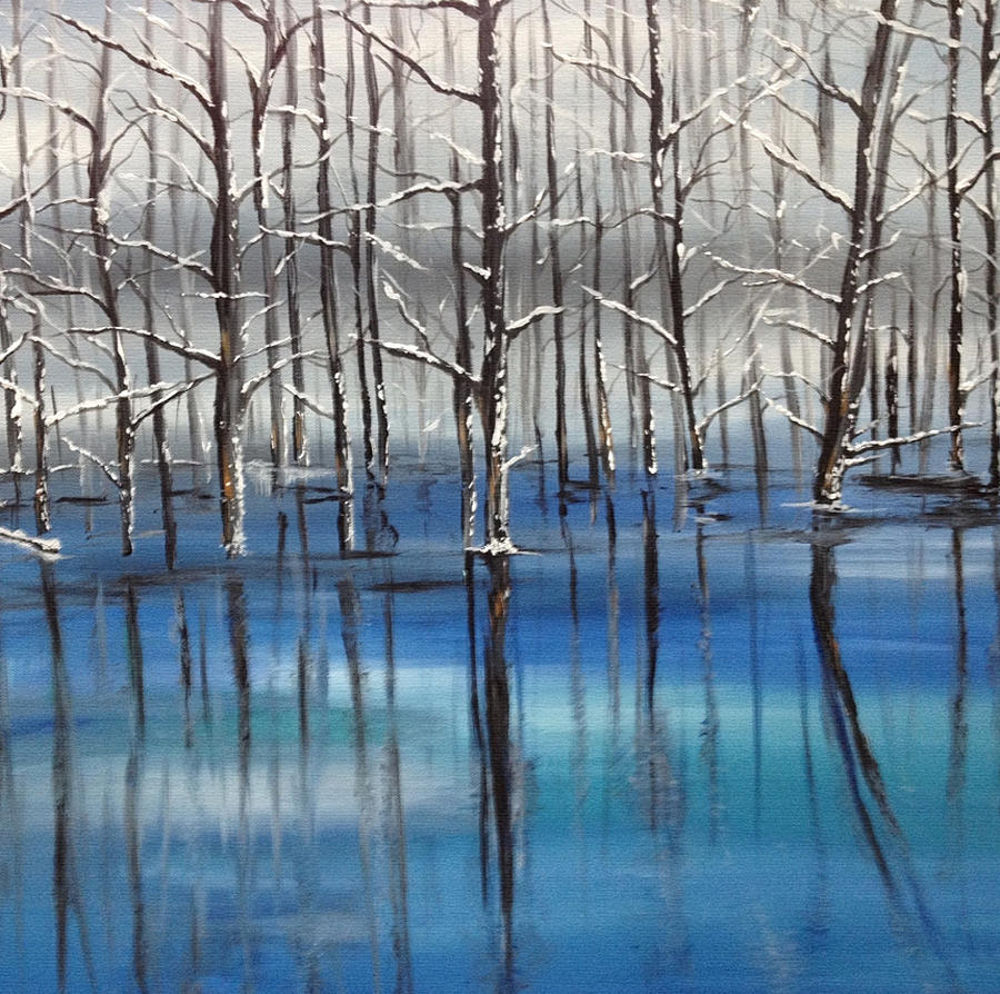 The Blue Pond Painting  - The Blue Pond Fine Art Print