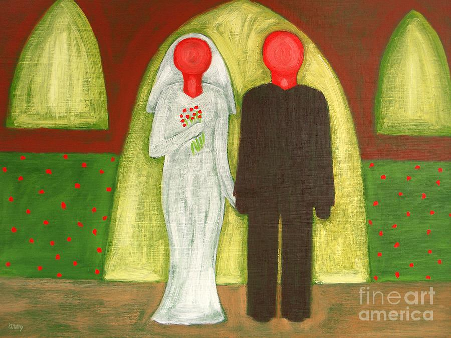 Wedding Painting - The Blushing Bride And Groom by Patrick J Murphy