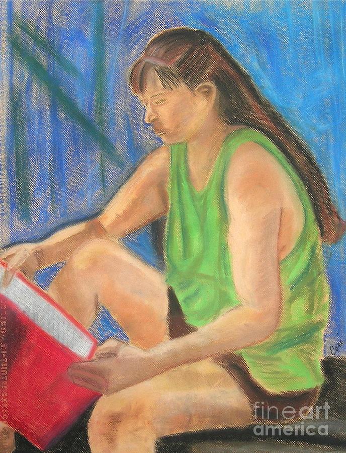 Girl Drawing - The Book Worm by Cori Solomon