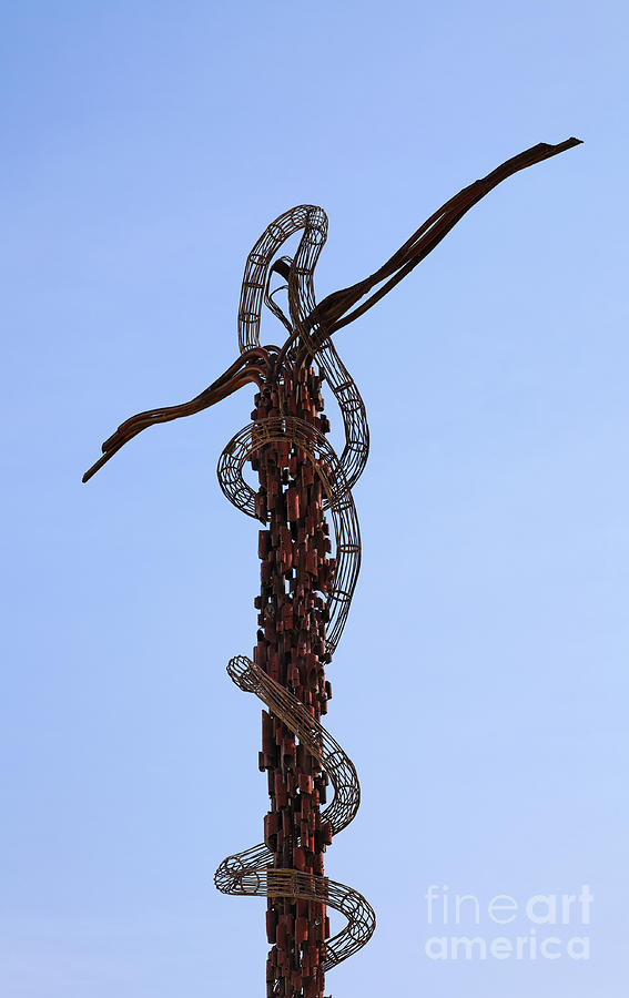 Mount Nebo Photograph - The Bronze Brazen Serpent Sculpture At Mount Nebo Jordan by Robert Preston