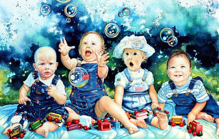 Child Portrait Painting - The Bubble Gang by Hanne Lore Koehler