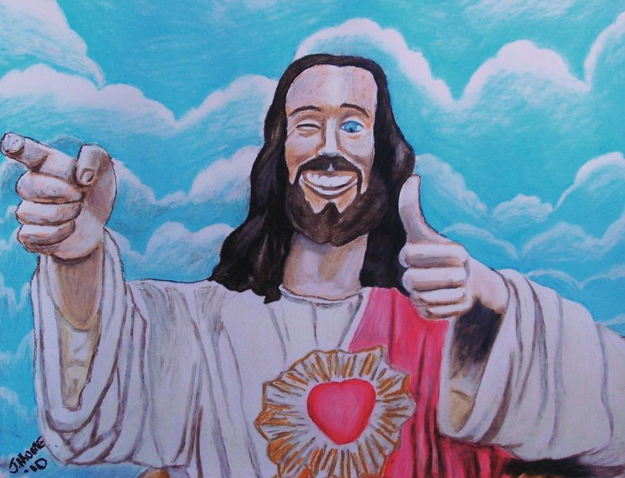 The Buddy Christ Pastel  - The Buddy Christ Fine Art Print
