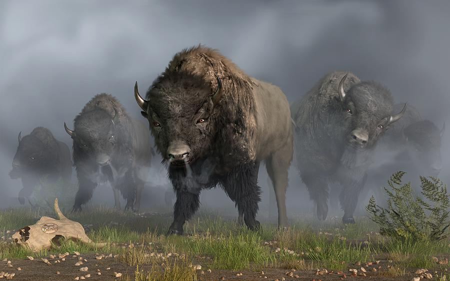 the buffalo vanguard digital art by daniel eskridge. Black Bedroom Furniture Sets. Home Design Ideas