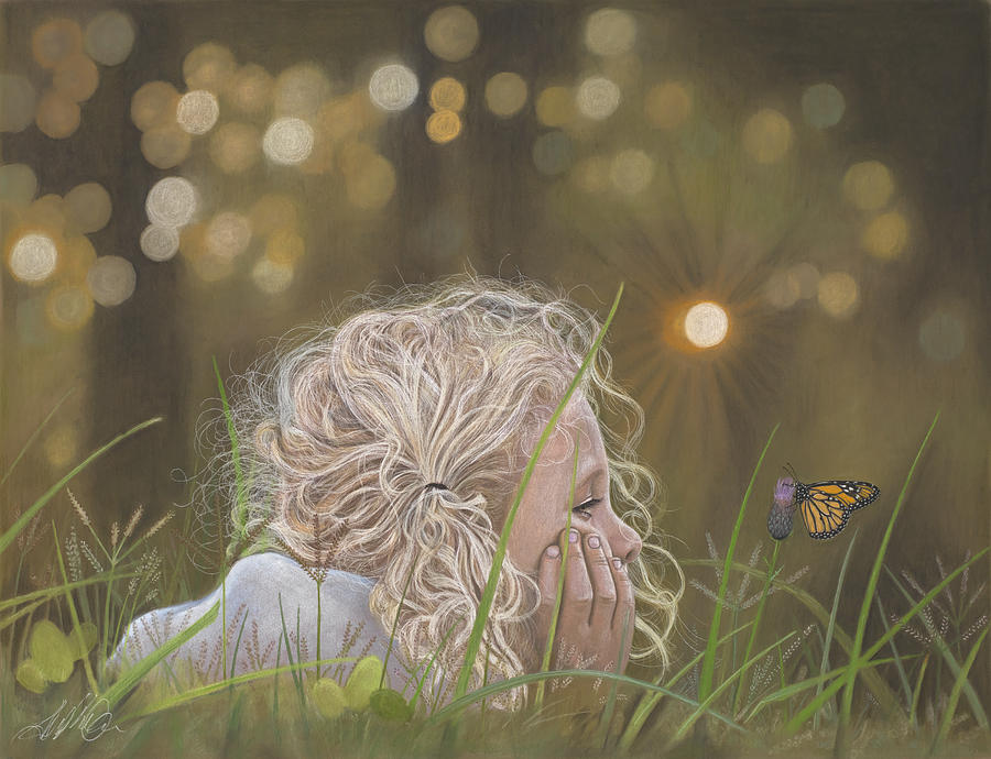 Child Painting - The Butterfly by Terry Kirkland Cook
