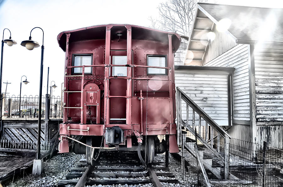 Ice Photograph - The Caboose by Bill Cannon
