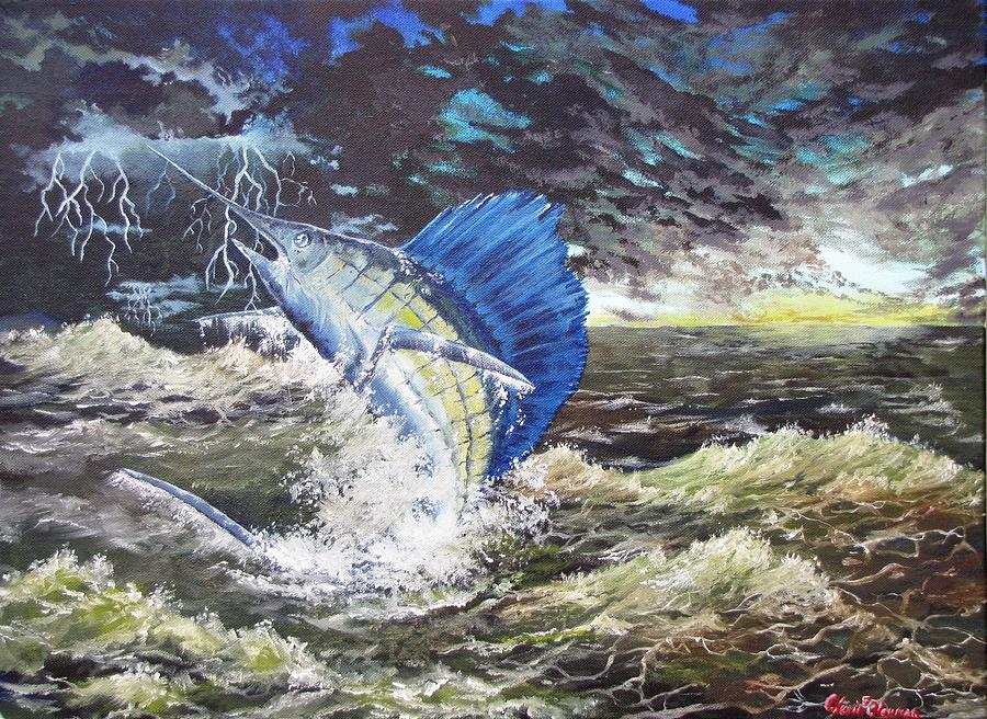 Sailfish Painting - The Calm The Crazy The Sailfish by Kevin F Heuman