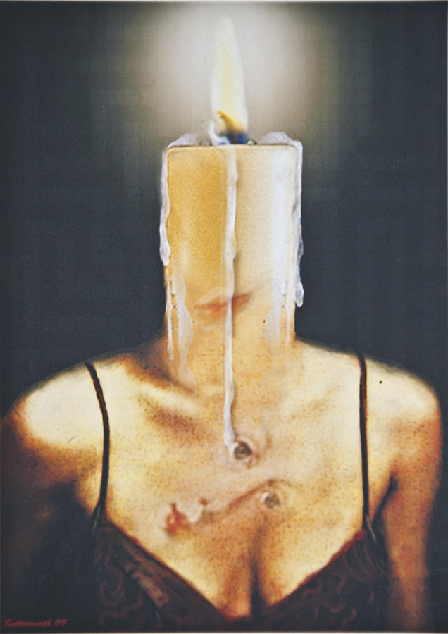 Surrealism. Woman Digital Art - The Candle Flame by Larry Butterworth