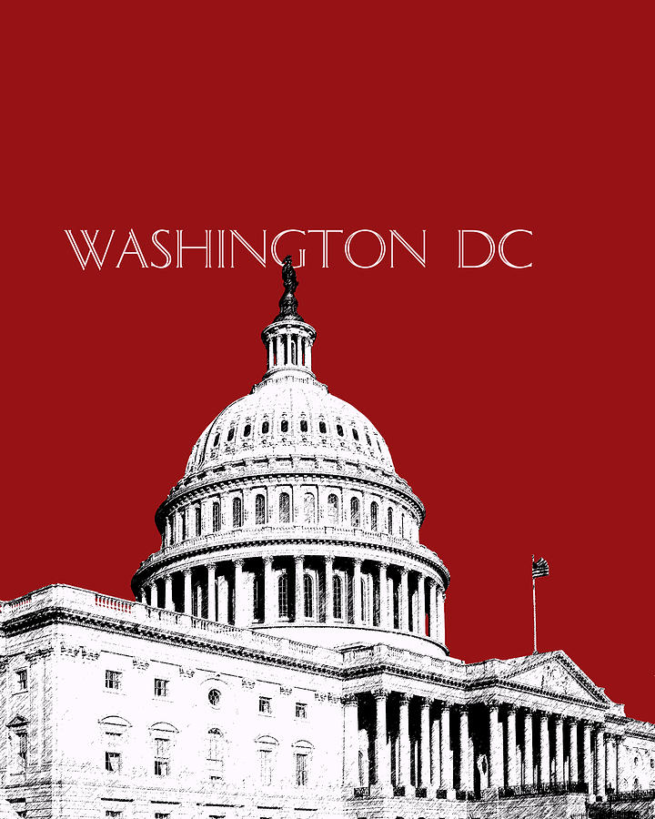 The Capital Building Dc Red Digital Art  - The Capital Building Dc Red Fine Art Print