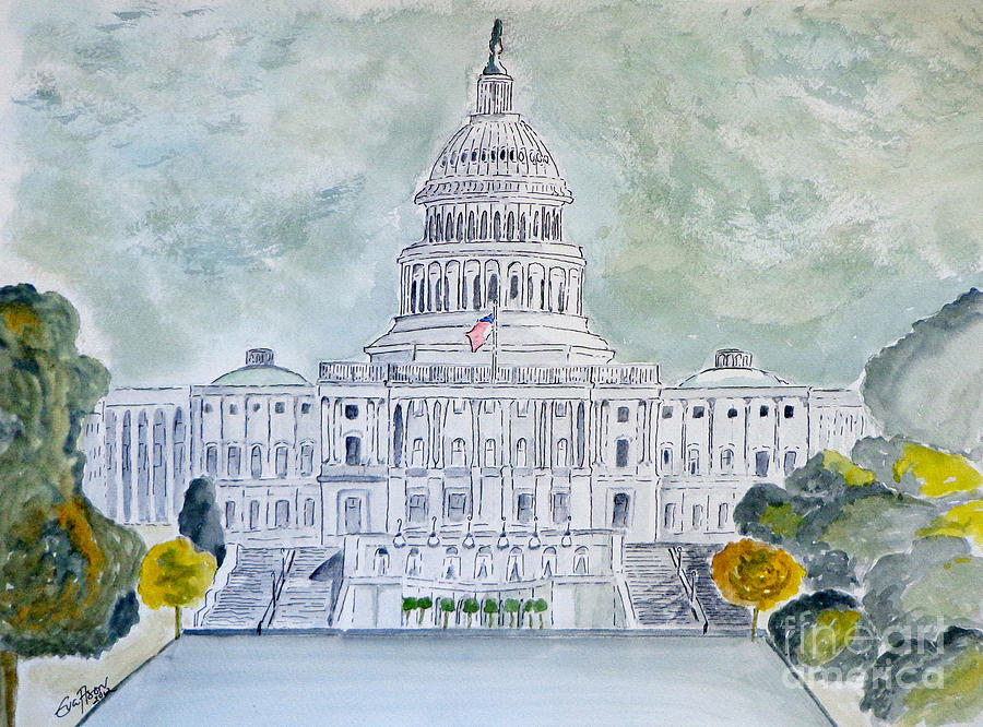 Capitol Hill Painting - The Capitol Hill by Eva Ason