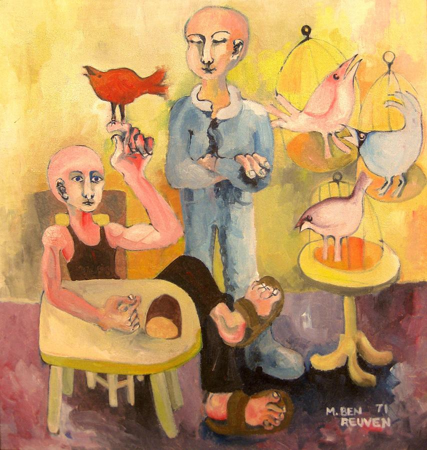 Israel Expressionist Art Prints Painting - The Cardinal Sings by Moshe BenReuven