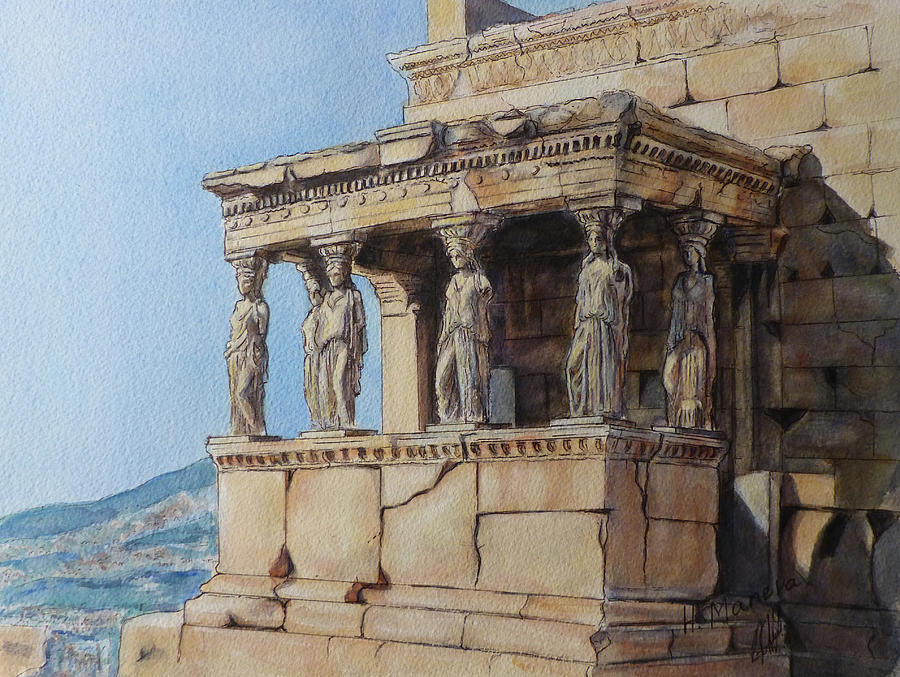 The Caryatid Porch Of The Erechtheion Painting by Henrieta ...
