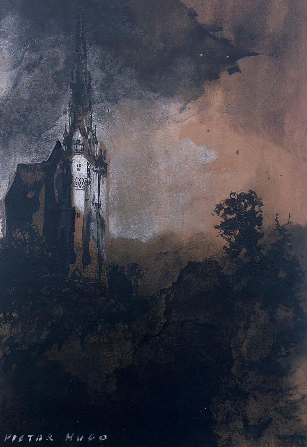 Victor Hugo Painting - The Castle In The Moonlight  by Victor Hugo