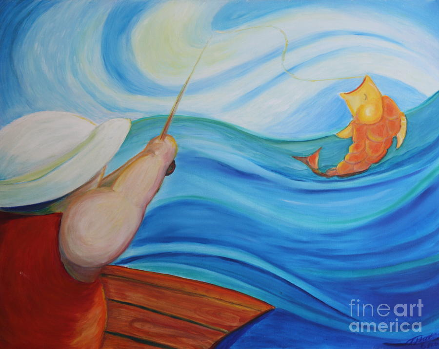 Landscape Painting - The Catch by Teresa Hutto