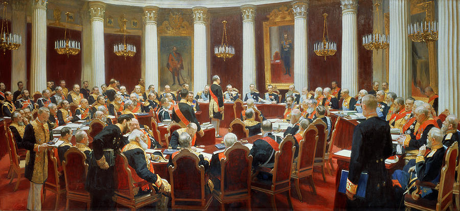 Ceremony; Duma; Russian National Parliament; Seated; Round Table; Tables; Politics; Politician; Politicians; Formal; Speaker; Speakers; Interior; Uniform; Male; Official; Officials; Military; Ceremony; Political; Interior; Portrait; Government; Peredvizhniki; Peredvizhniki Group Painting - The Ceremonial Sitting Of The State Council 7th May 1901 by Ilya Efimovich Repin