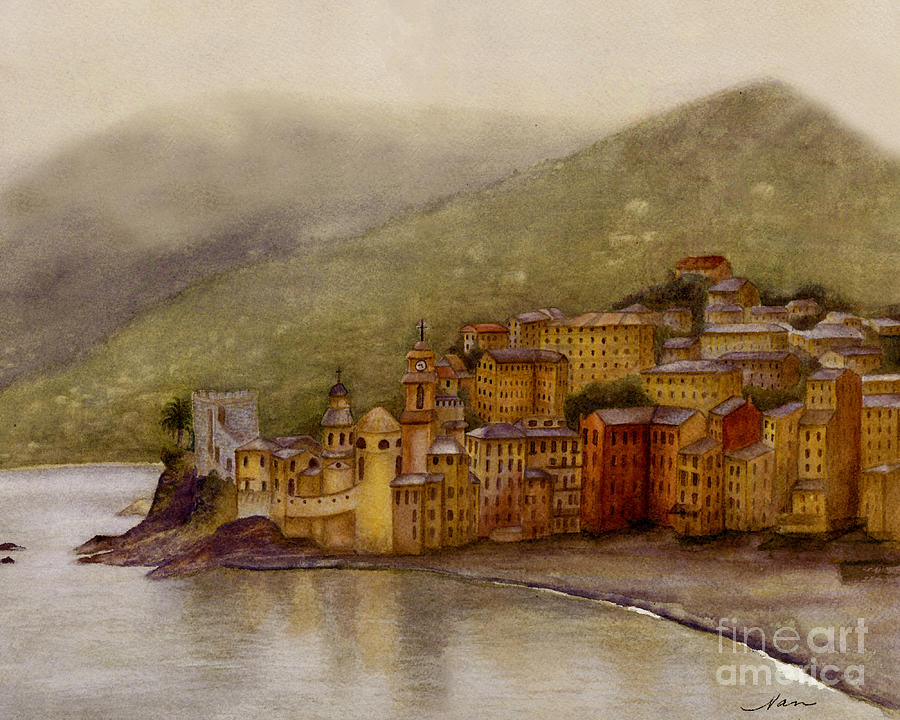 The Charming Town Of Camogli Italy Painting  - The Charming Town Of Camogli Italy Fine Art Print