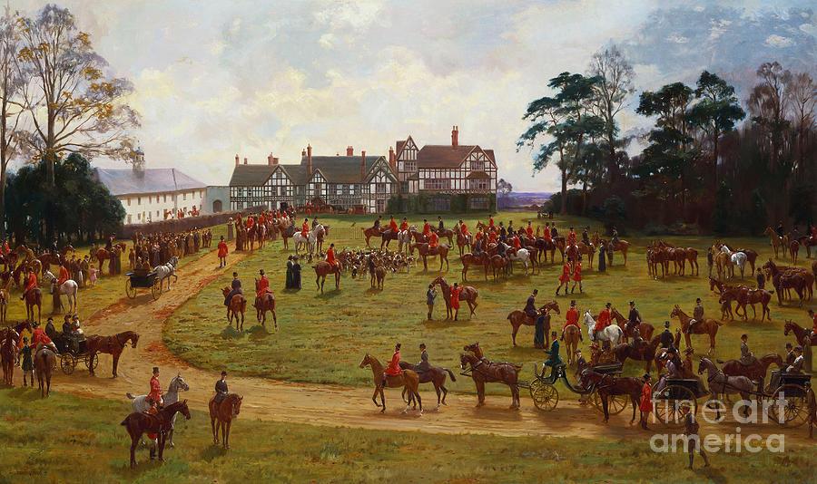The Cheshire Hunt    The Meet At Calveley Hall  Painting
