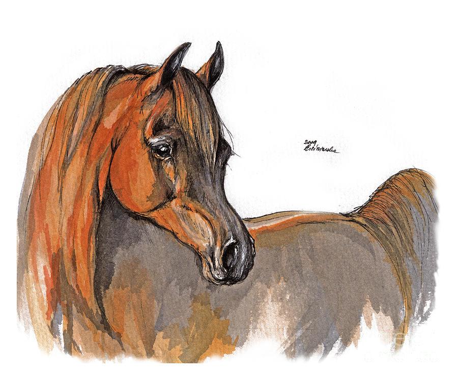 Chestnut Horse Painting - The Chestnut Arabian Horse 2a by Angel  Tarantella