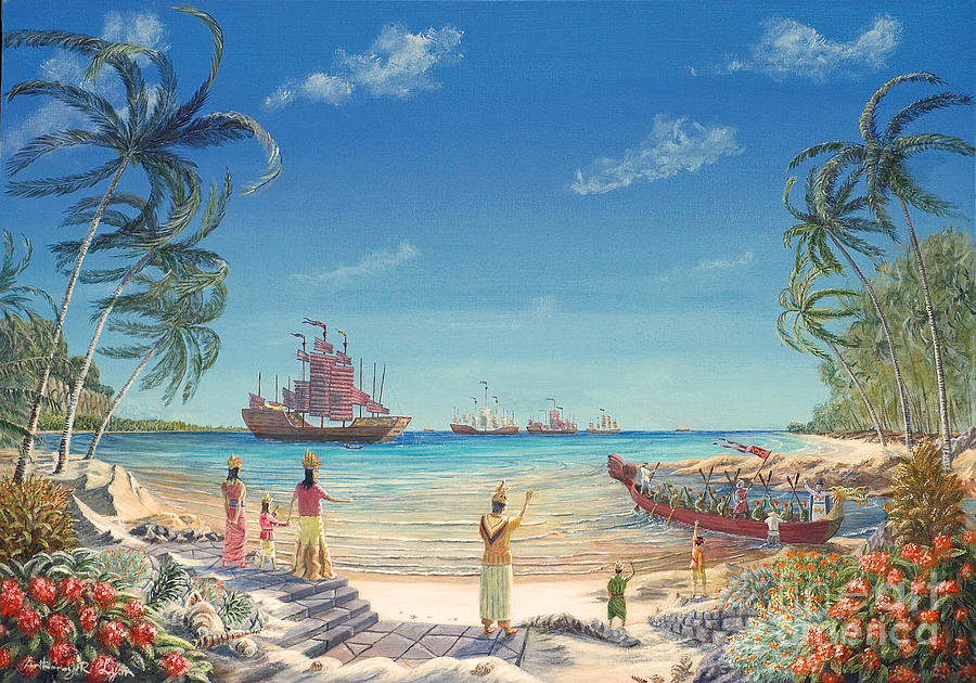 The Chinese Treasure Fleet Arrives Painting By Anthony Lyon