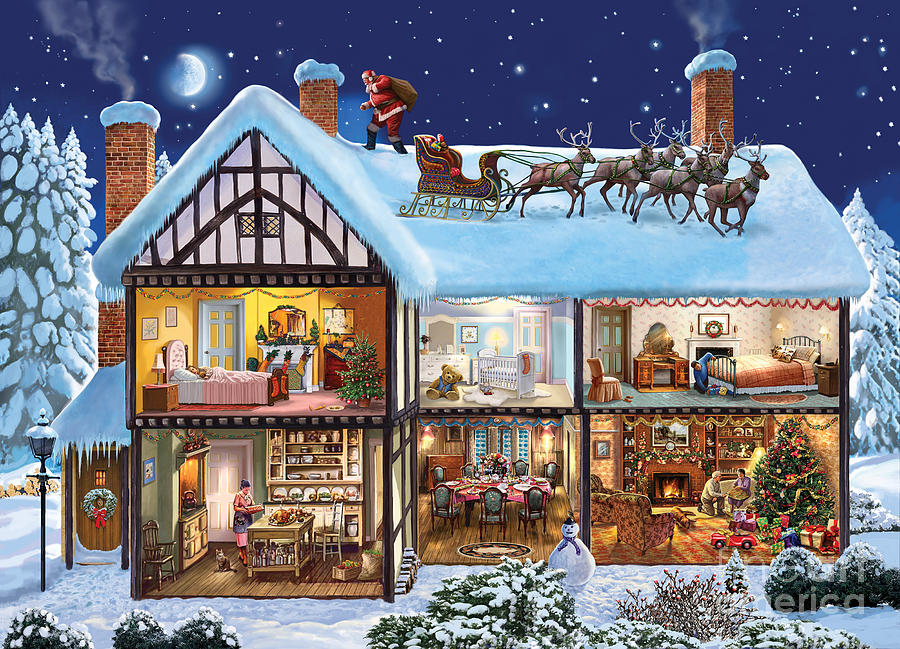 The Christmas House Digital Art  - The Christmas House Fine Art Print