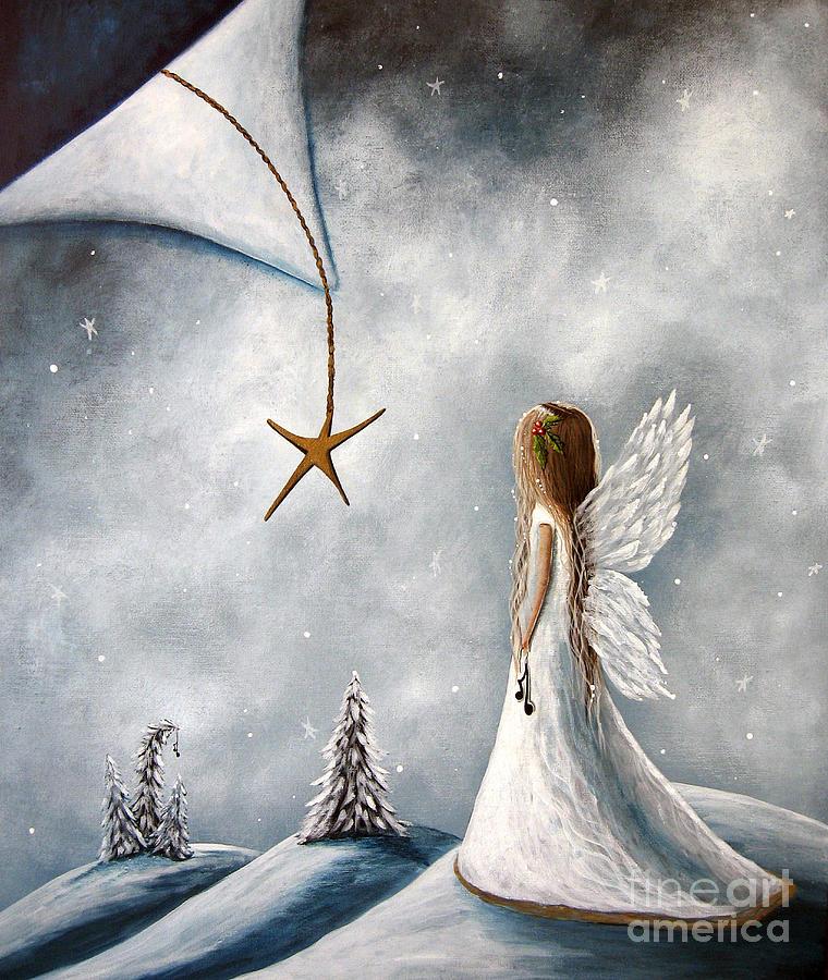 Angel Art Painting - The Christmas Star Original Artwork by Shawna Erback