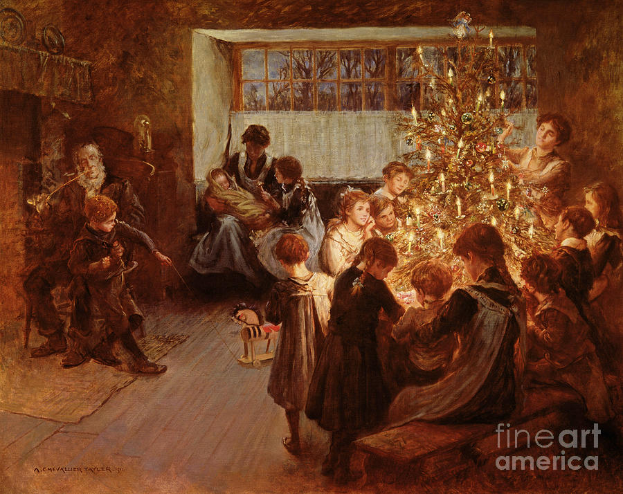 Victorian Sentiment Painting - The Christmas Tree by Albert Chevallier Tayler