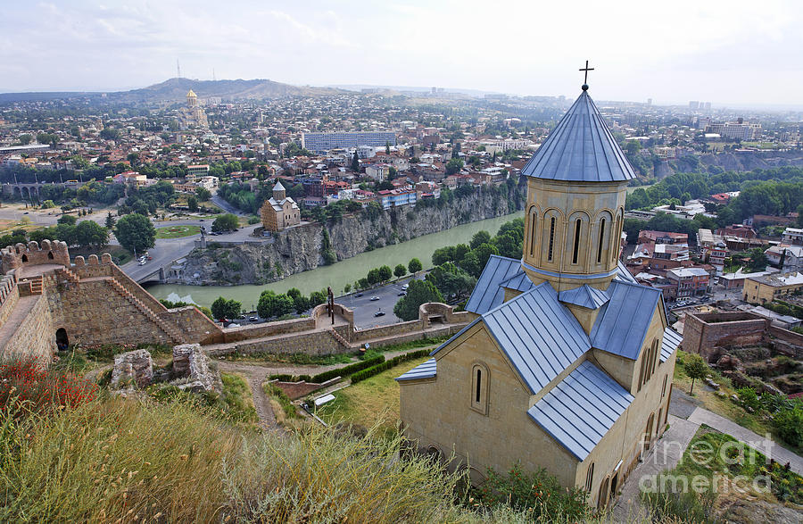 The Church Of St Nicolas Overlooking Tbilisi Georgia Photograph