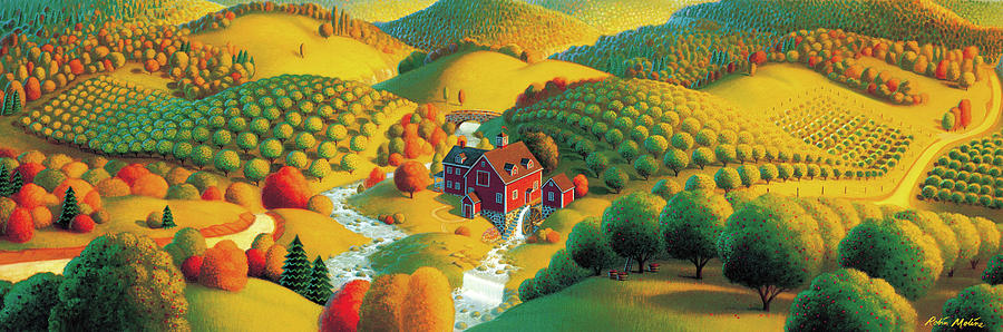 Fall Panorama Painting - The Cider Mill by Robin Moline