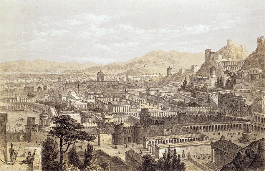 Ancient Greece Drawing - The City Of Ephesus From Mount Coressus by Edward Falkener