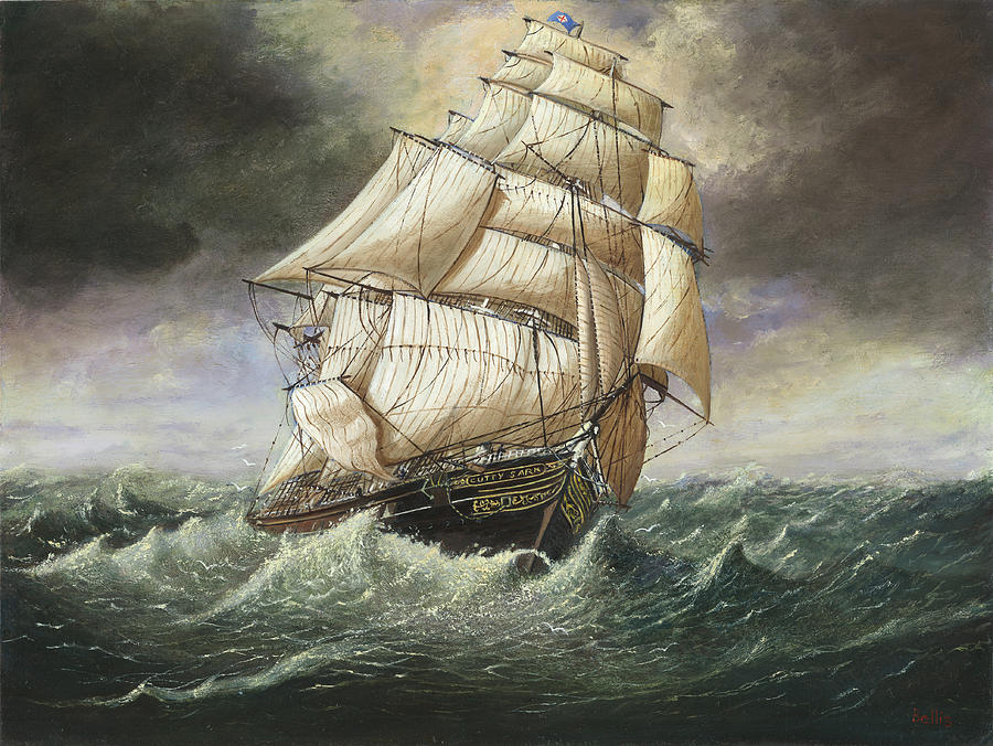 the Clipper Ship Cutty Sark In A Squall Painting  - the Clipper Ship Cutty Sark In A Squall Fine Art Print