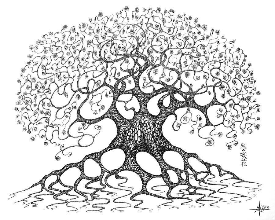 The Convoluted Flower Tree Drawing  - The Convoluted Flower Tree Fine Art Print