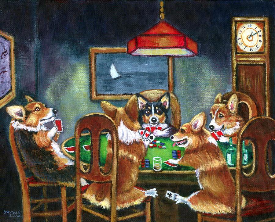 Pembroke Welsh Corgi Painting - The Corgi Poker Game by Lyn Cook