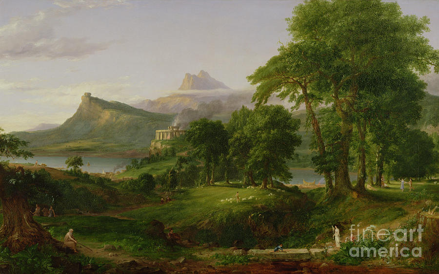 Thomas Painting - The Course Of Empire   The Arcadian Or Pastoral State by Thomas Cole