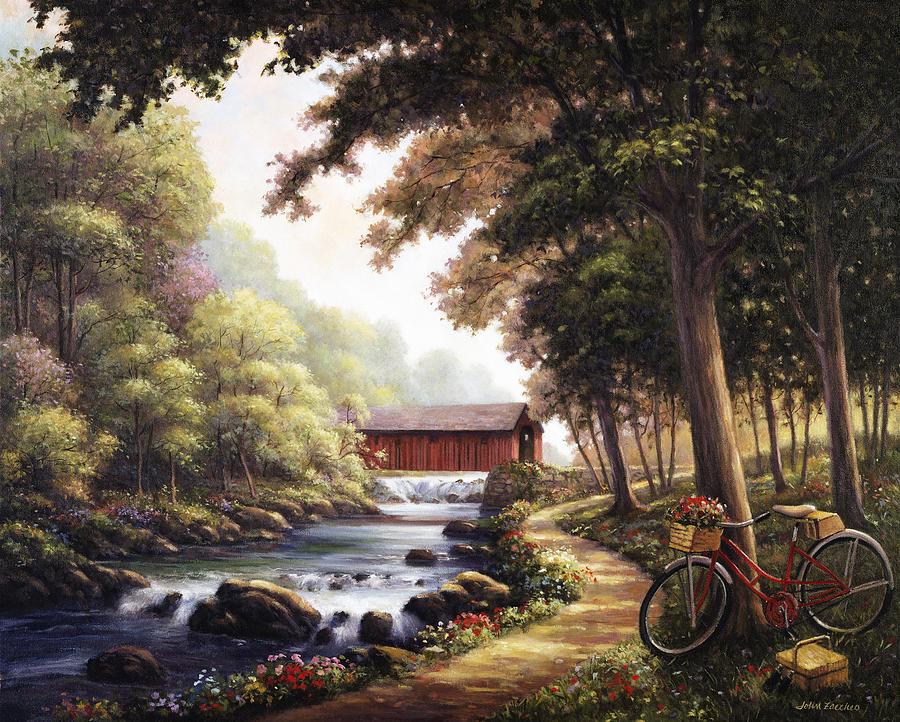 John Painting - The Covered Bridge by John Zaccheo