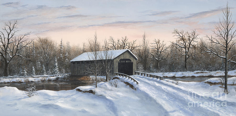 The Covered Bridge Painting  - The Covered Bridge Fine Art Print