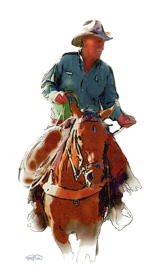 The Cowboy Digital Art  - The Cowboy Fine Art Print