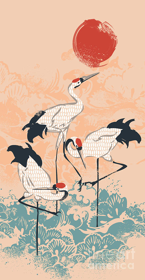 The Cranes Digital Art  - The Cranes Fine Art Print