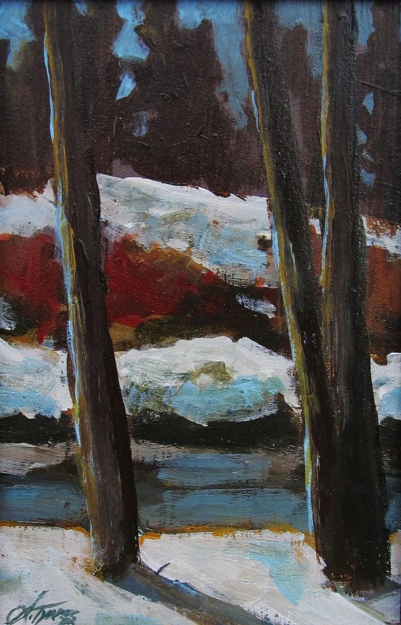 Landscape Nature Trees Painting - The Creek by Suzanne Tynes