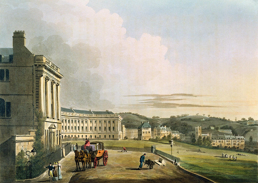Architecture Drawing - The Crescent, From Bath Illustrated by John Claude Nattes
