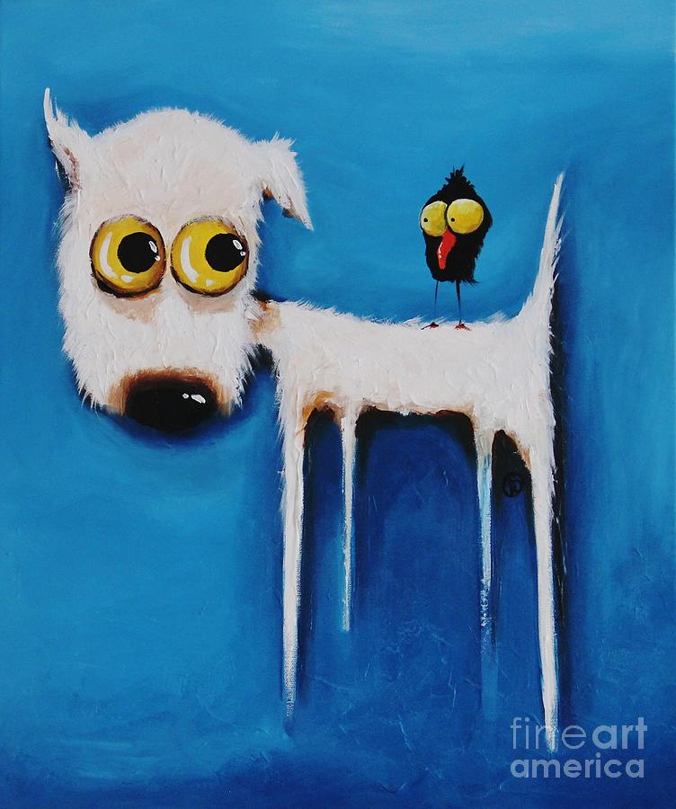 The Crow And The Dog Painting  - The Crow And The Dog Fine Art Print