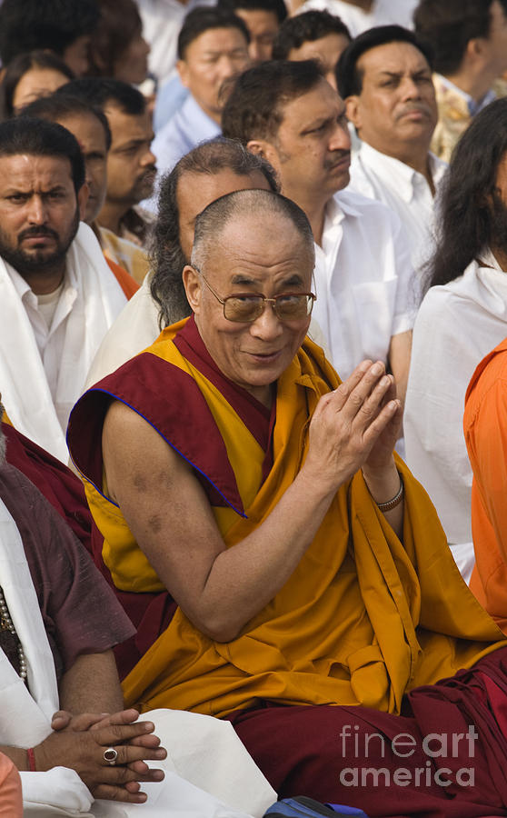The Dalai Lama At Gandhis Raj Ghat - New Delhi Photograph