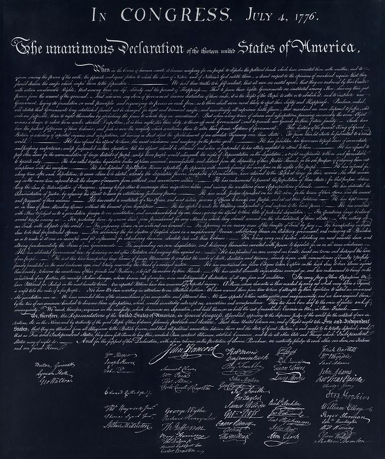 The Declaration Of Independence In Negative  Photograph