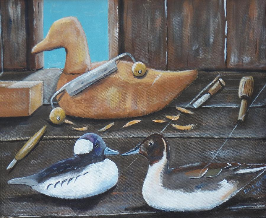 The decoy carver s bench painting by richard goohs