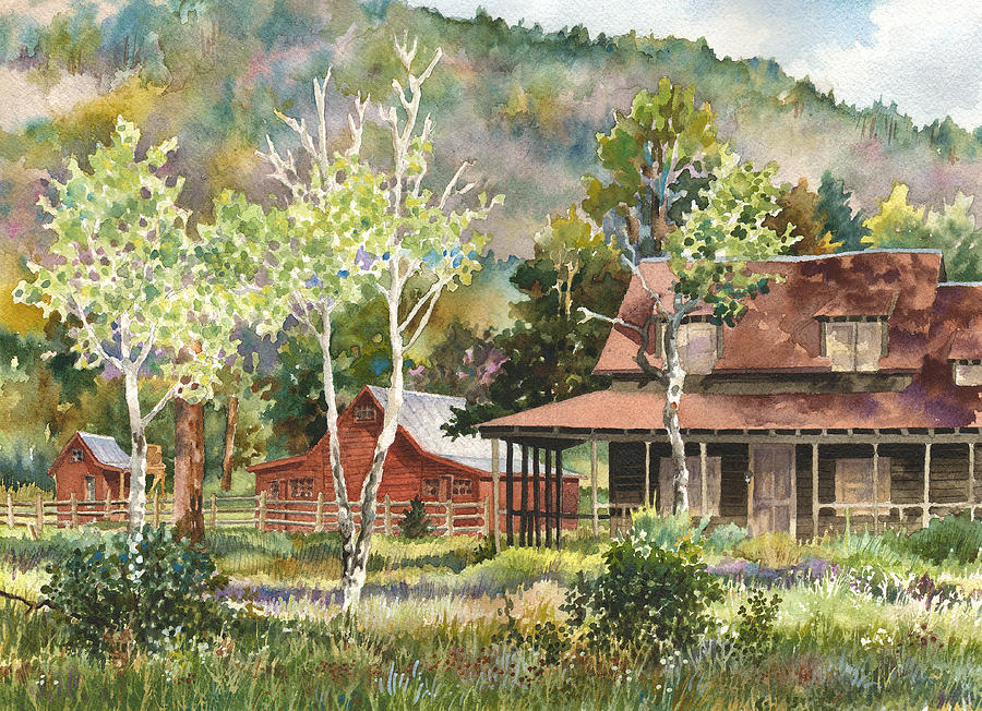 Barn Painting Painting - The Delonde Homestead At Caribou Ranch by Anne Gifford