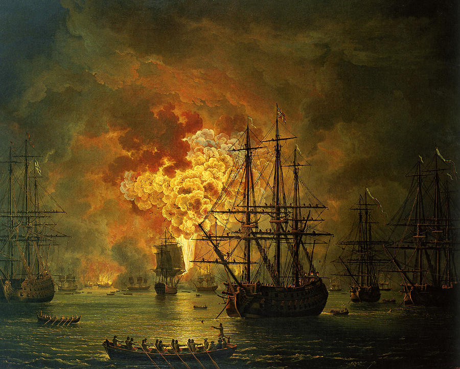 The Destruction Of The Turkish Fleet At The Bay Of Chesma Painting  - The Destruction Of The Turkish Fleet At The Bay Of Chesma Fine Art Print