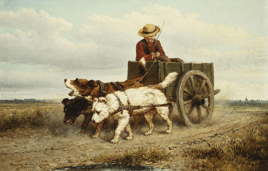 The Dog Cart Painting  - The Dog Cart Fine Art Print